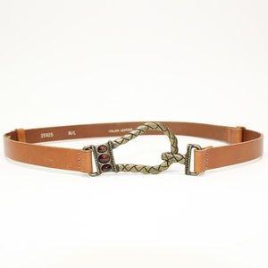Chico's Italian Leather Braided Hook Belt